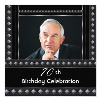 Prata do branco do preto da festa de aniversário convite quadrado 13.35 x 13.35cm