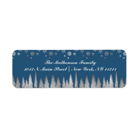 Prata do feriado e país das maravilhas azul do etiqueta endereço de retorno