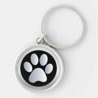 Prata do impressão da pata do cão, chaveiro preto,