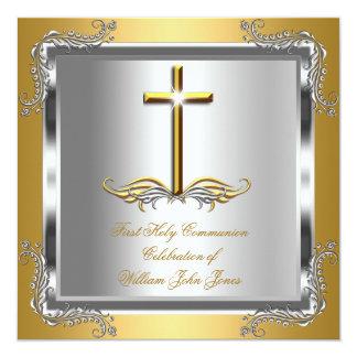 Prata do ouro do comunhão santamente do menino ou convite quadrado 13.35 x 13.35cm