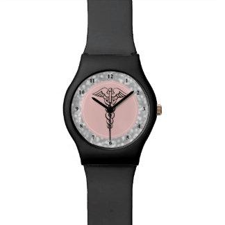Prata do rosa do símbolo do Caduceus do relógio  