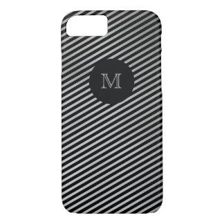 Prata e capa de telefone listrada do preto