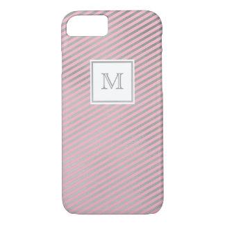 Prata e capa de telefone listrada do rosa