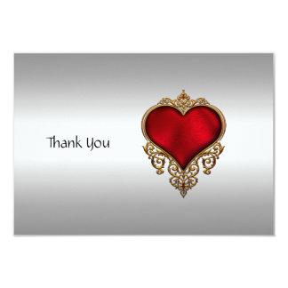 Prata e coração dos cartões de agradecimentos convite 8.89 x 12.7cm
