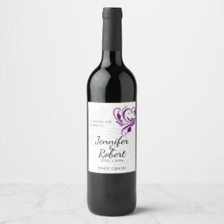 Prata e etiqueta floral roxa do vinho do coração