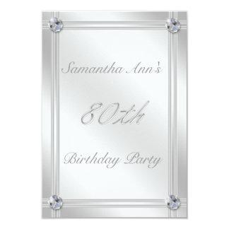 Prata e festa de aniversário do 80 do efeito do convite 8.89 x 12.7cm