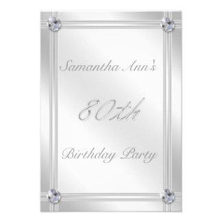 Prata e festa de aniversário do 80 do efeito do di convites