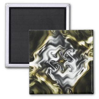 Prata e ouro ímã quadrado