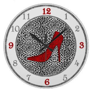 Prata e vermelho com impressão animal da chita relógios de pendurar