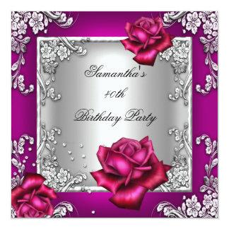 Prata elegante do rosa do rosa do partido de convite quadrado 13.35 x 13.35cm