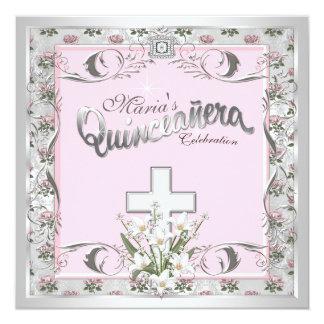 Prata elegante e Quinceanera religioso cor-de-rosa Convite Personalizado
