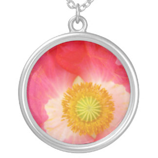 Prata esterlina da colar do centro da flor da papo