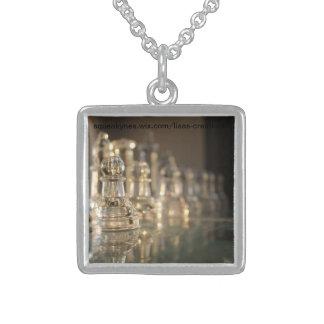 Prata esterlina de vidro de grupo de xadrez colar de prata esterlina