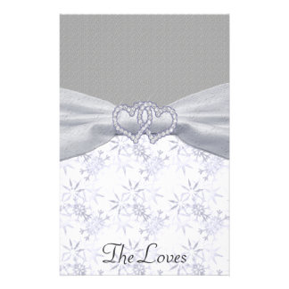 Prata, estrelas brancas & flocos de neve Wedding Papelaria