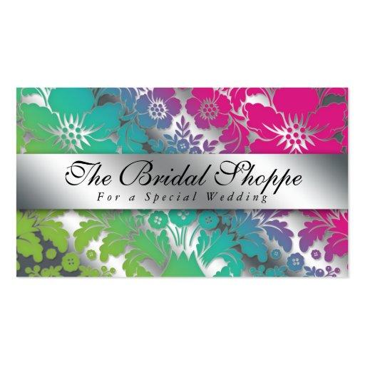 Prata floral PGB do damasco do cartão de visita do