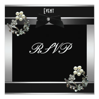 Prata formal do traje de cerimónia de RSVP Convite Quadrado 13.35 X 13.35cm