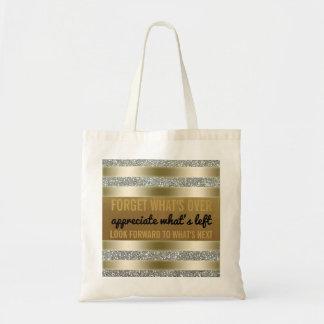 Prata inspirada do ouro da tipografia das citações bolsa tote