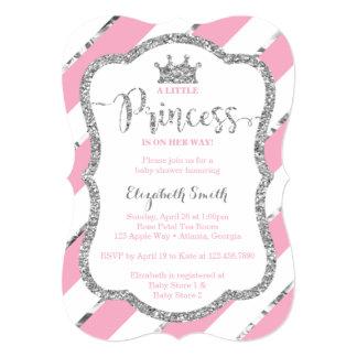 Prata pequena do rosa do convite da princesa chá