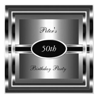 Prata preta da festa de aniversário dos homens convite quadrado 13.35 x 13.35cm
