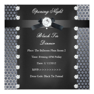 Prata preta formal do traje de cerimónia da noite convite quadrado 13.35 x 13.35cm