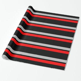 Prata preta & listras horizontais vermelhas papel de presente