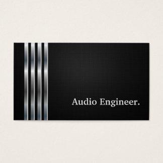 Prata preta profissional do engenheiro audio cartão de visitas