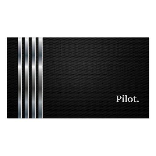 Prata preta profissional piloto modelo de cartões de visita
