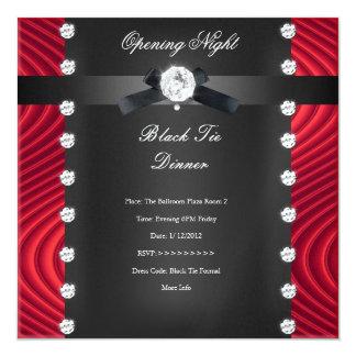 Prata preta vermelha formal do traje de cerimónia convite quadrado 13.35 x 13.35cm