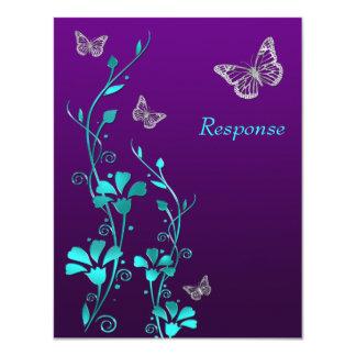 Prata roxa floral, cartão da cerceta das convite 10.79 x 13.97cm