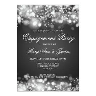 Prata Sparkling das luzes da festa de noivado do Convite 12.7 X 17.78cm