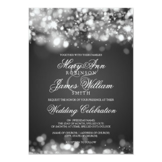 Prata Sparkling Wedding das luzes Convite 12.7 X 17.78cm