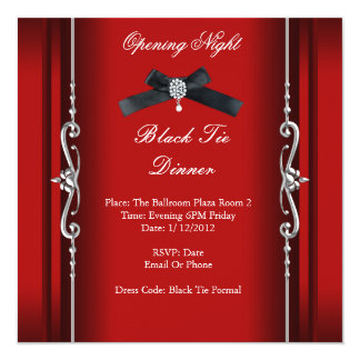 Prata vermelha formal do traje de cerimónia da convite quadrado 13.35 x 13.35cm