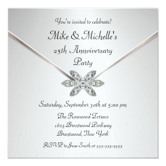 Prateie 25os convites do broche do diamante do convite quadrado 13.35 x 13.35cm