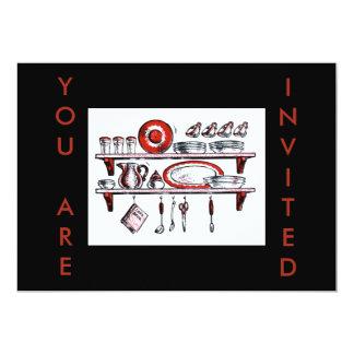 Prateleira retro da cozinha em branco e vermelho convite 12.7 x 17.78cm