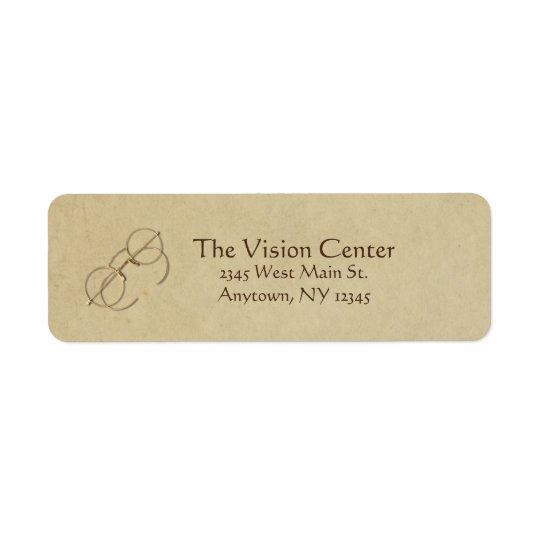Prática do oftalmologista, do optometrista ou do etiqueta endereço de retorno