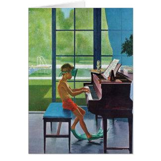 Prática do piano da piscina cartão comemorativo