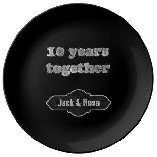 Prato 10o Lembrança | do aniversário 10 anos junto