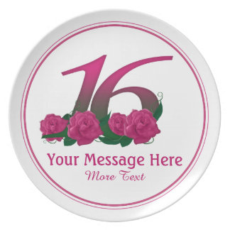 Prato 16a placa personalizada personalizada das flores