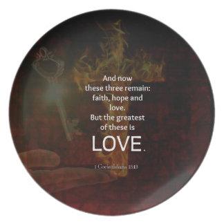 Prato 1 citação dos versos da bíblia do 13:13 dos