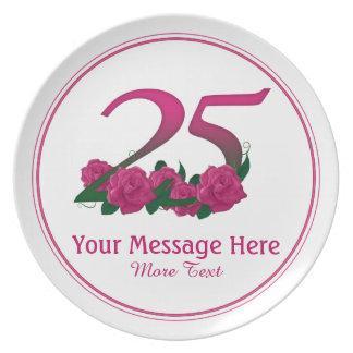 Prato 25a placa personalizada personalizada das flores