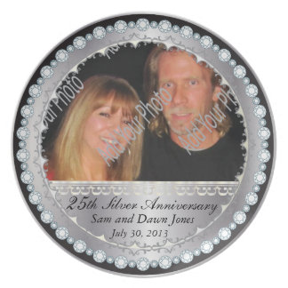 Prato 25o aniversário de prata preto & de prata elegante