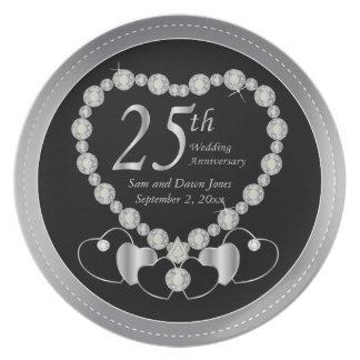 Prato 25o aniversário de prata preto e de prata elegante