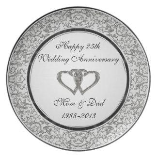 Prato 25o Placa da melamina do aniversário de casamento
