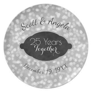 Prato 25o Prata da lembrança do aniversário de casamento
