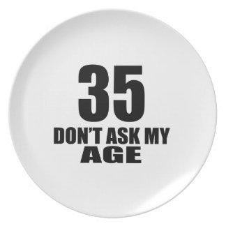 Prato 35 não peça meu design do aniversário da idade