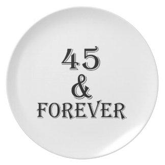 Prato 45 e para sempre design do aniversário