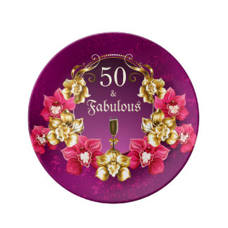 Prato 50 e orquídeas fabulosas e Champagne do rosa do