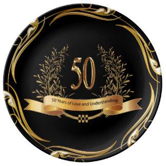 Prato 50th placa feliz da porcelana do aniversário de