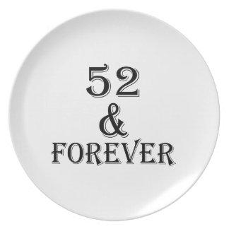 Prato 52 e para sempre design do aniversário
