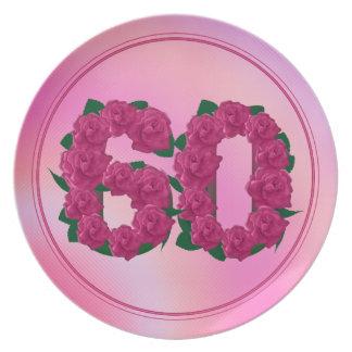 Prato 60 placa floral do aniversário 60th do aniversário